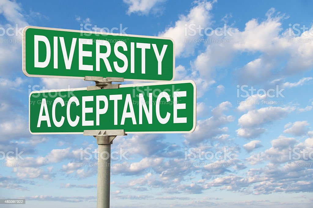 Diversity Acceptance Street Sign stock photo