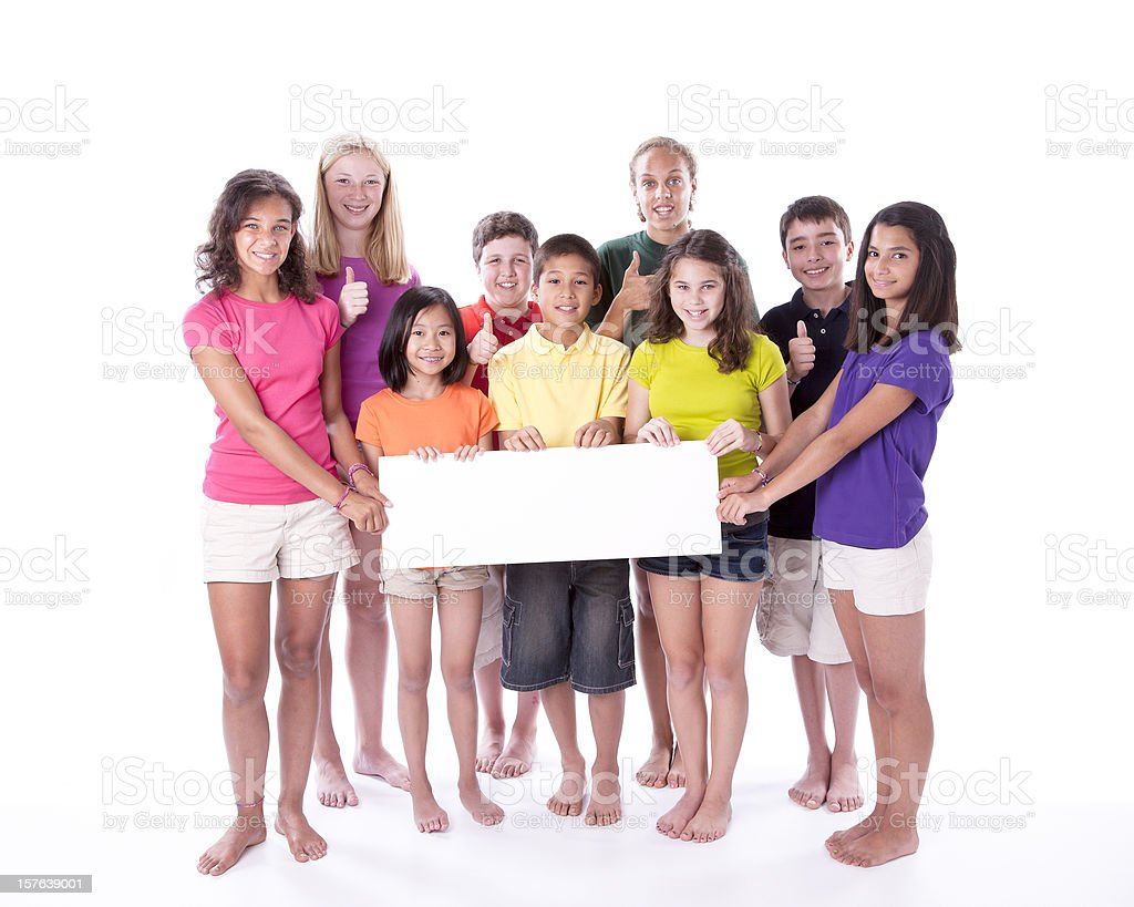 Diversity: Children and Teens Holding Blank Sign with Thumbs Up royalty-free stock photo