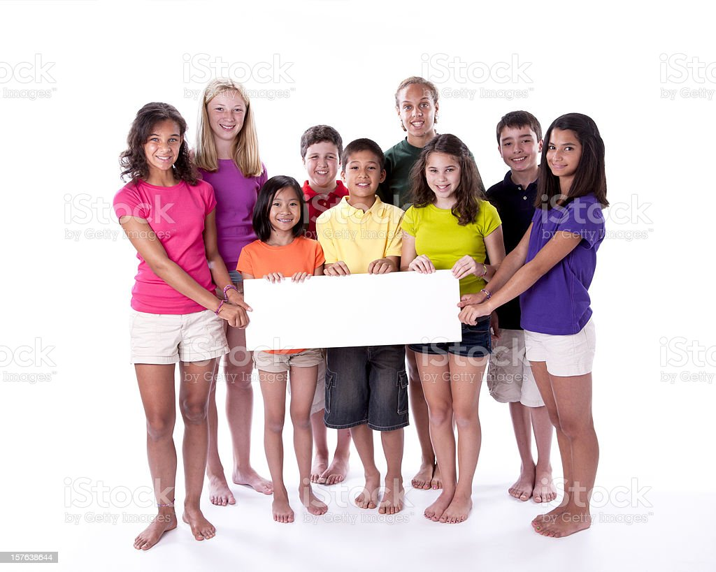 Diversity: Children of Different Ethnicities Together Holding Blank Sign royalty-free stock photo