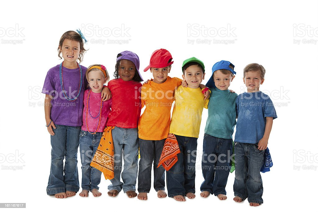 Diversity: Group Children Different Ethnicities Together Colorful stock photo