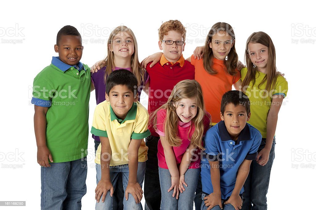 Diversity: Group of Multi-Racial Children Friends Teamwork Three Quarter Length stock photo