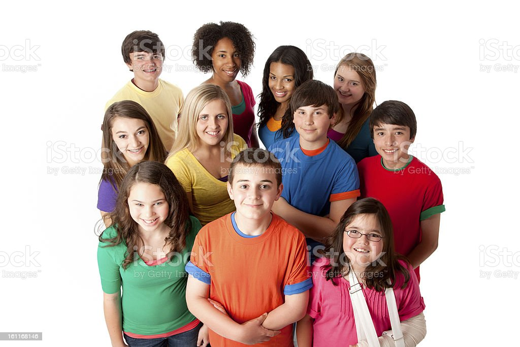 Diversity: Group of Multi-Racial Teenagers Friends Teamwork stock photo