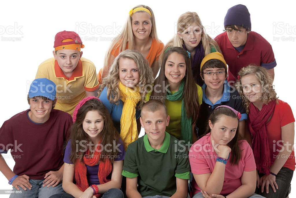 Diversity: Group of Teenage Boys and Girls Friendship Teamwork Colorful stock photo