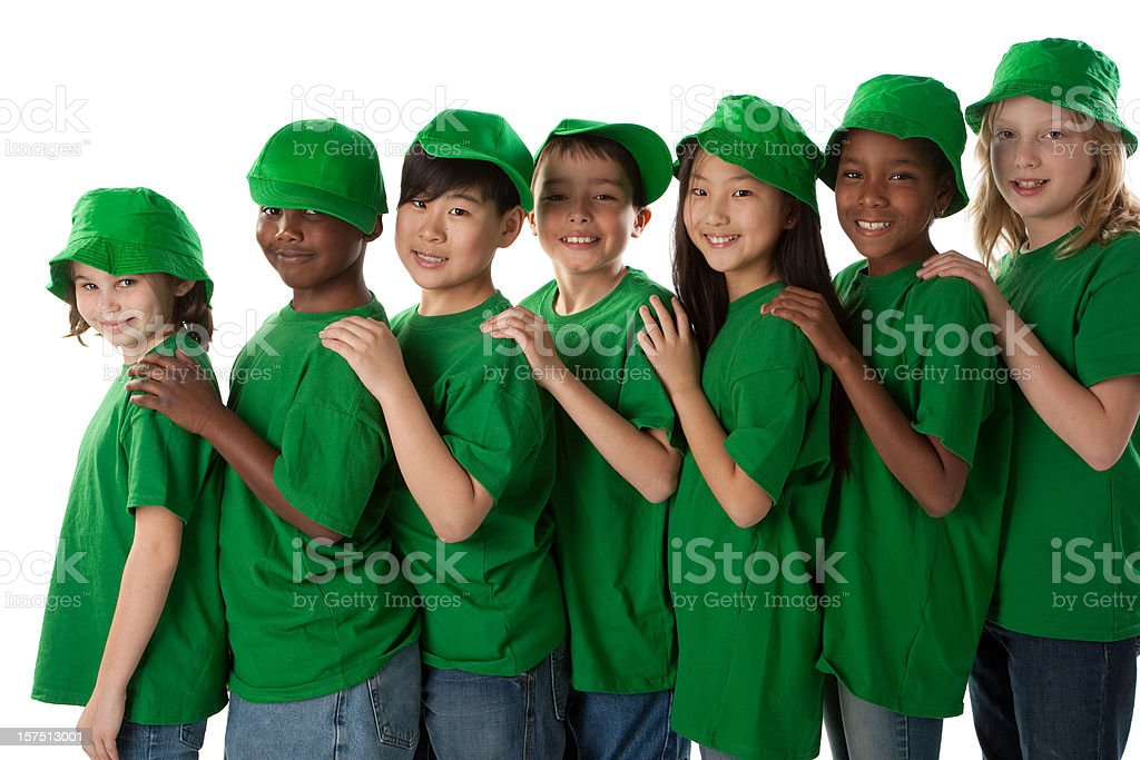 Diversity: Interracial Group of Children Stand Together and  Go Green royalty-free stock photo