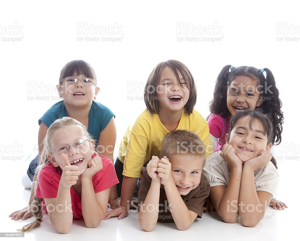 Diversity: Mulit-Racial Group of Children Laughing Together royalty-free stock photo