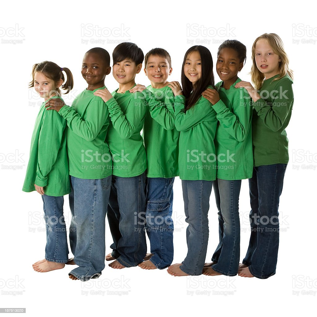 Diversity: Multi-Ethnic Group of Children Go Green Together royalty-free stock photo