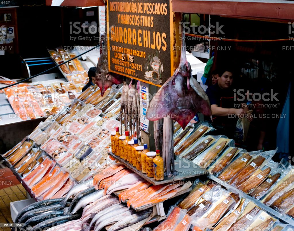 Diversity of fresh & dried fish and seafood at Angelmo Fish Market, Puerto Montt, Chile stock photo