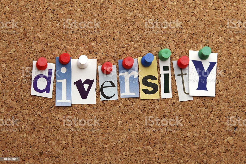 Diversity pinned on noticeboard royalty-free stock photo