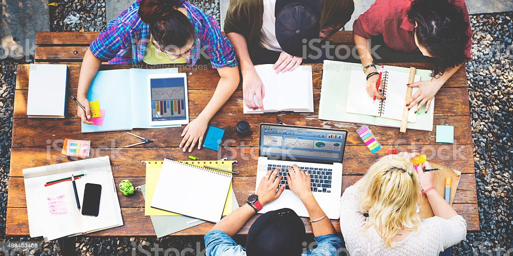 Diversity Teamwork Brainstorming Meeting Outdoors Concept stock photo