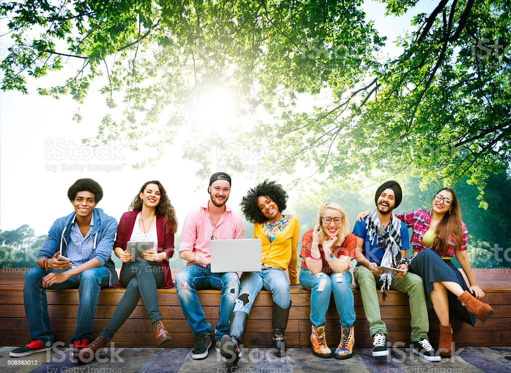 Diversity Teenagers Friends Friendship Team Concept stock photo