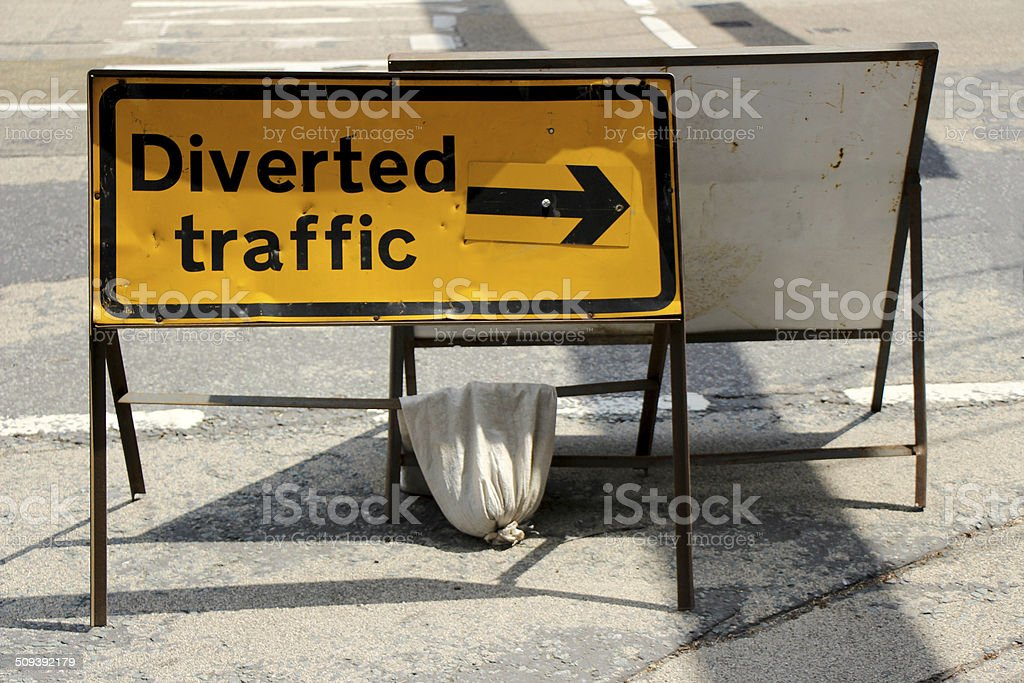 Diverted traffic sign with clipping path stock photo
