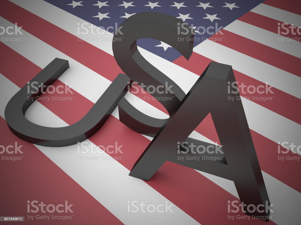 Divided America News Concept: Letters USA With U For United Lying On Stars And Stripes US Flag, 3d illustration stock photo