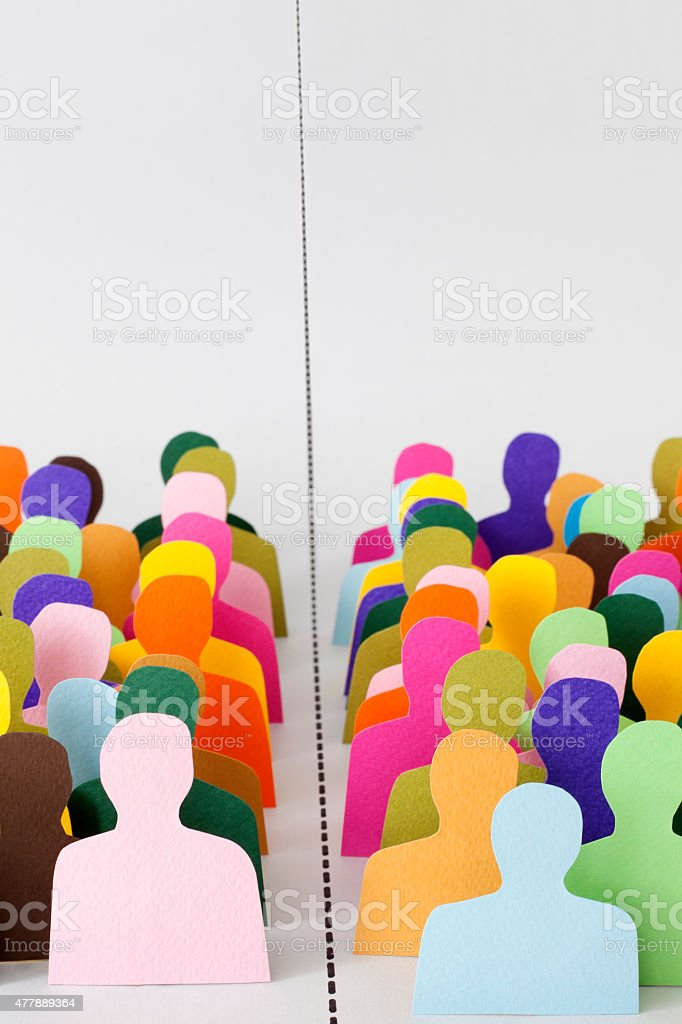 Divided men stock photo