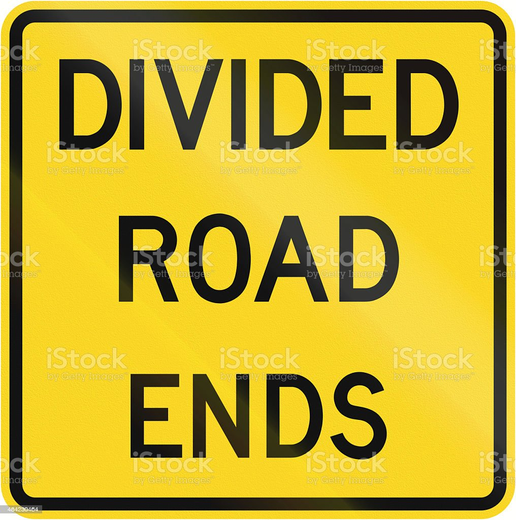 Divided Road Ends In Canada stock photo