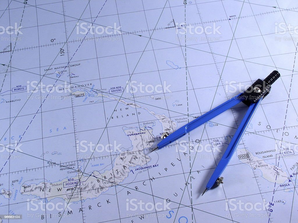 Dividers on top of chart of South Seas stock photo