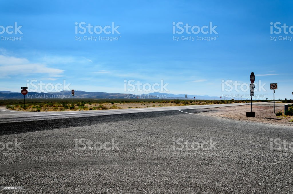 Dividing highway in the West, Arizona, USA stock photo