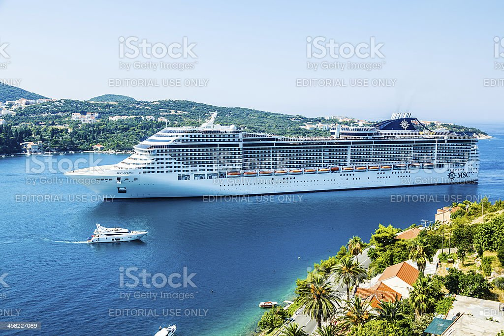 MSC Divina cruise ship in Dubrovnik stock photo