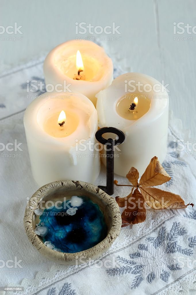 divination of wax stock photo