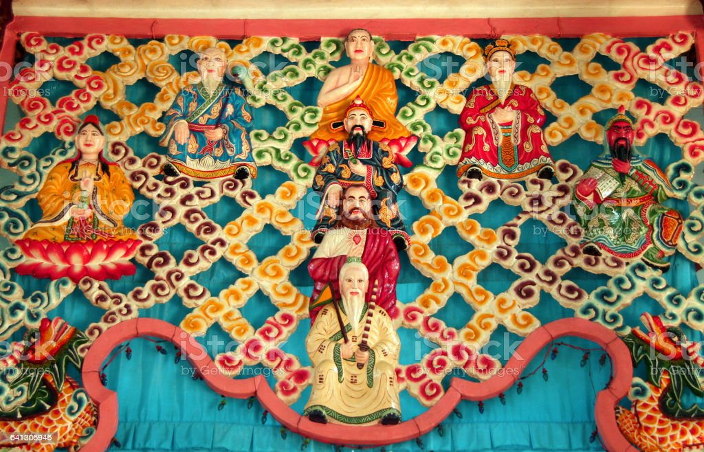divine pantheon  of Cao dai (Caodaism is  a monotheistic religion  in southern Vietnam) stock photo