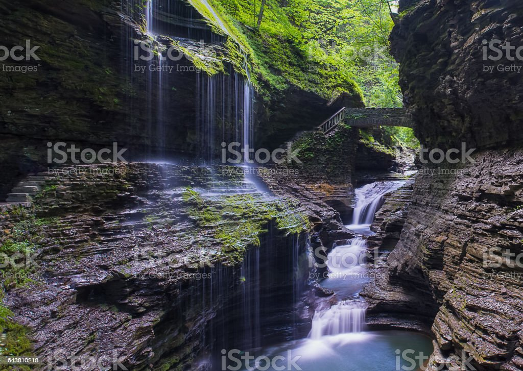 Divine Rainbow Fall and staircase to Paradise stock photo