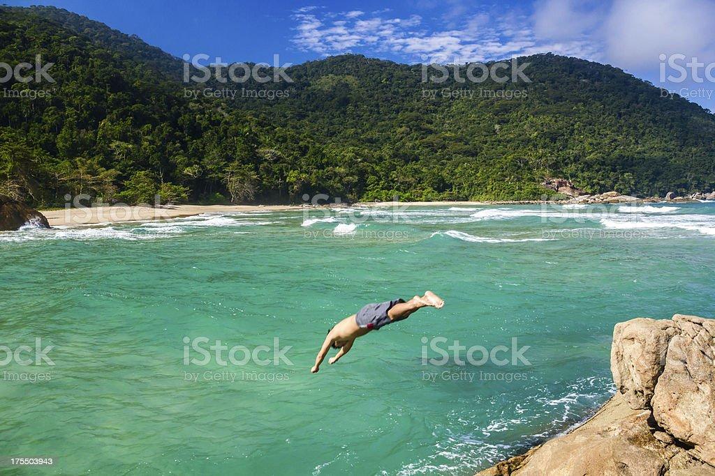 Diving at paradise stock photo