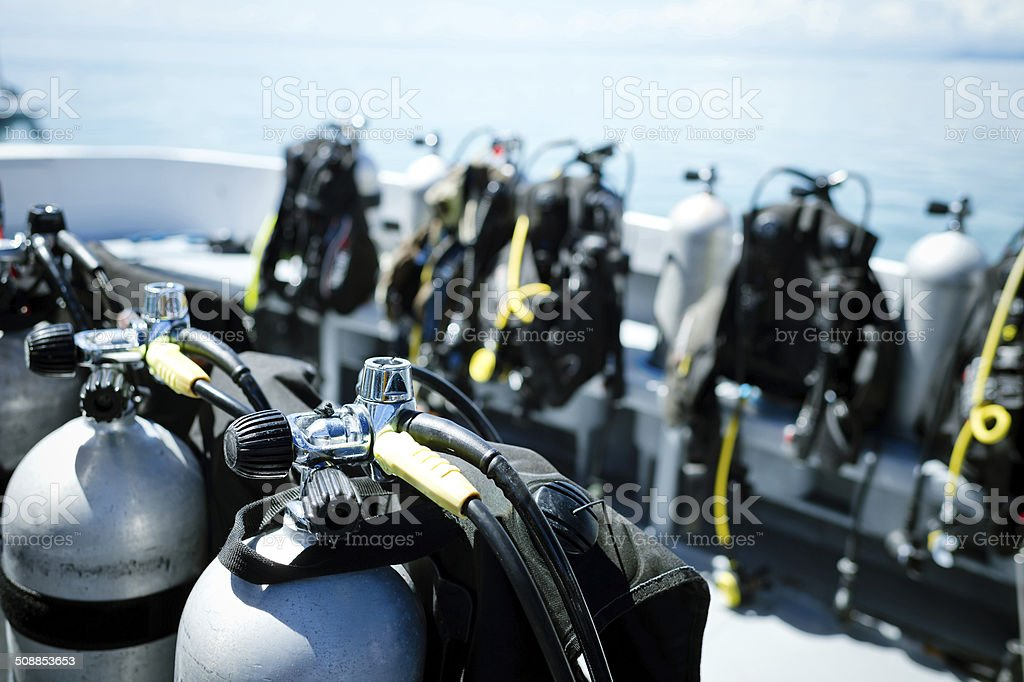 Diving Equipment on Boats stock photo