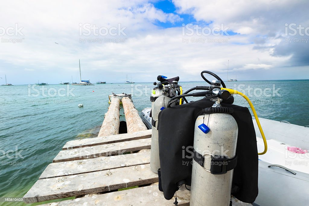 Diving equipment ready to onboard stock photo