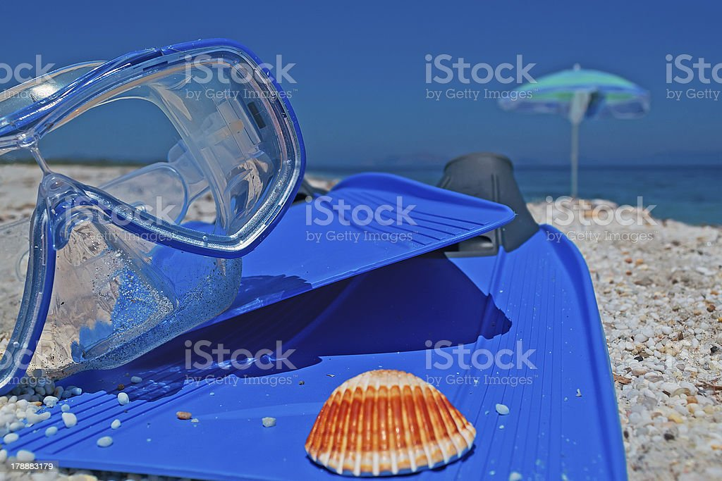diving fins and mask royalty-free stock photo