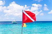 Diving Flag and Boat in the Caribbean