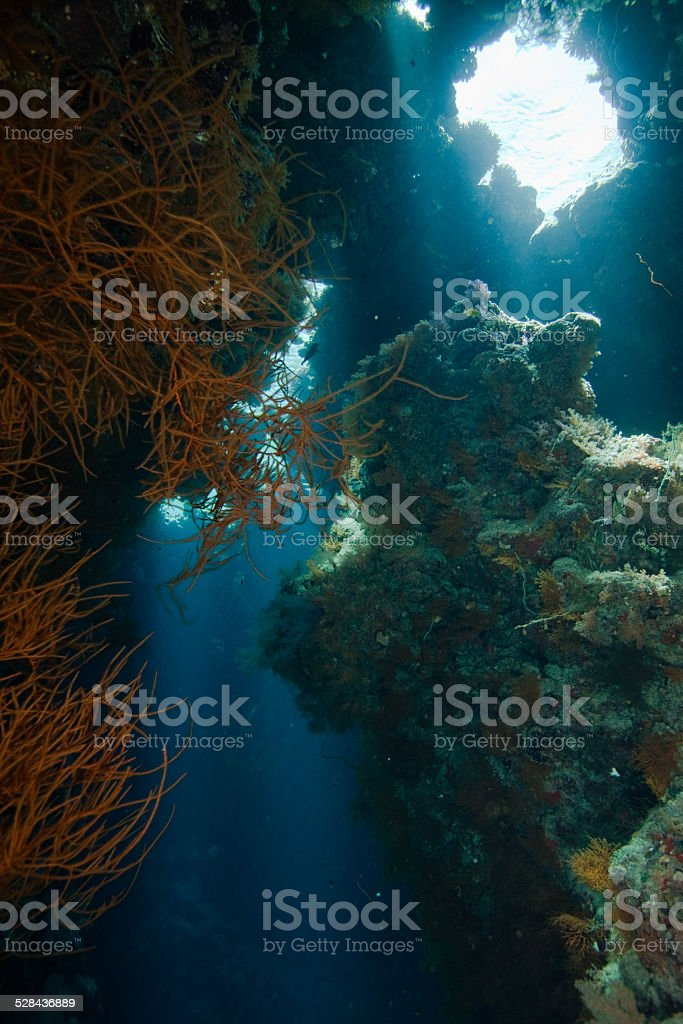 Diving in a cave stock photo