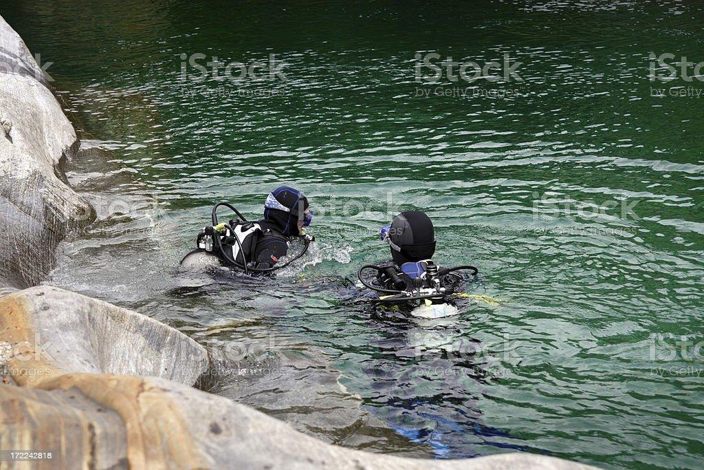 Diving in Verzasca royalty-free stock photo