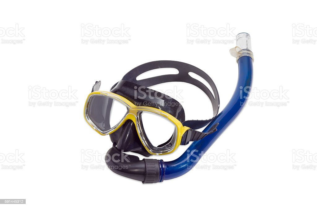 Diving mask on a light background stock photo