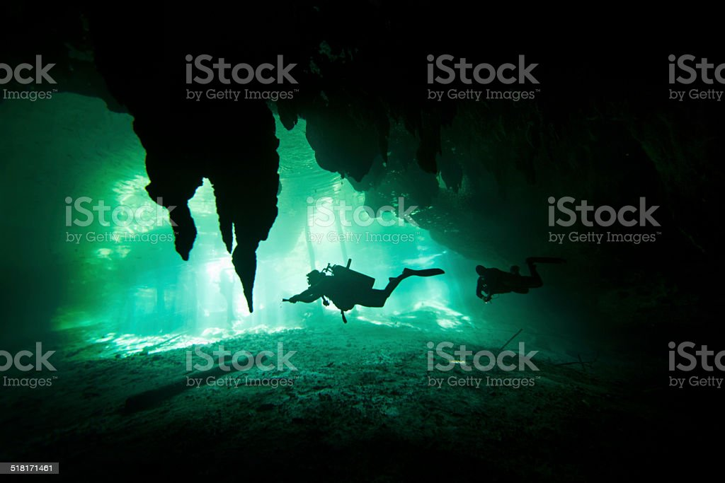 Diving on a cenote stock photo