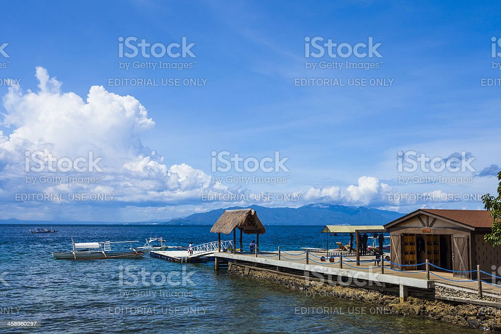 Diving pier, Sabang, Philippines stock photo