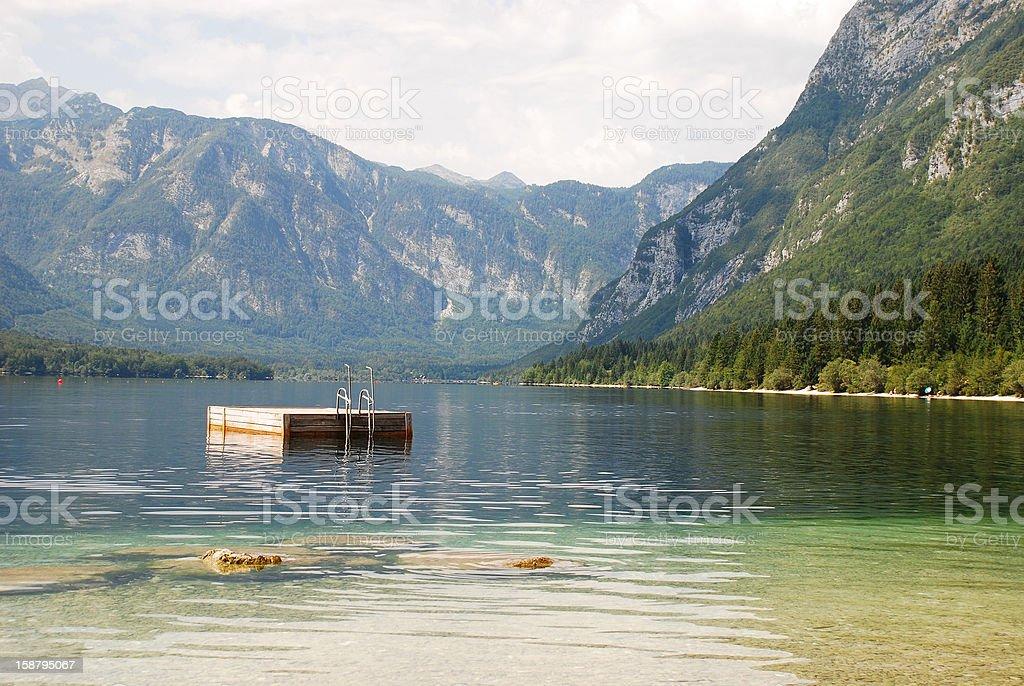 Diving Platform in Lake Bohinj royalty-free stock photo