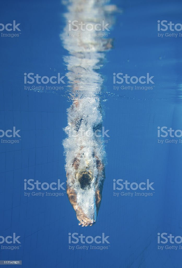 Diving straight down stock photo