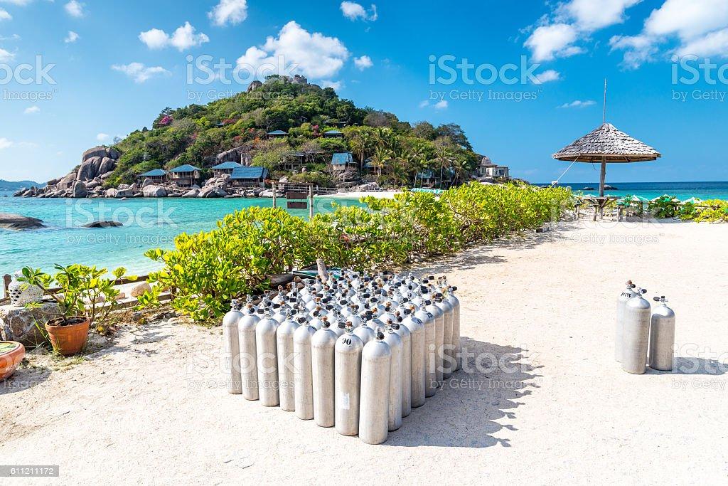 Diving tanks equipment at Nang Yuan island of Thailand stock photo