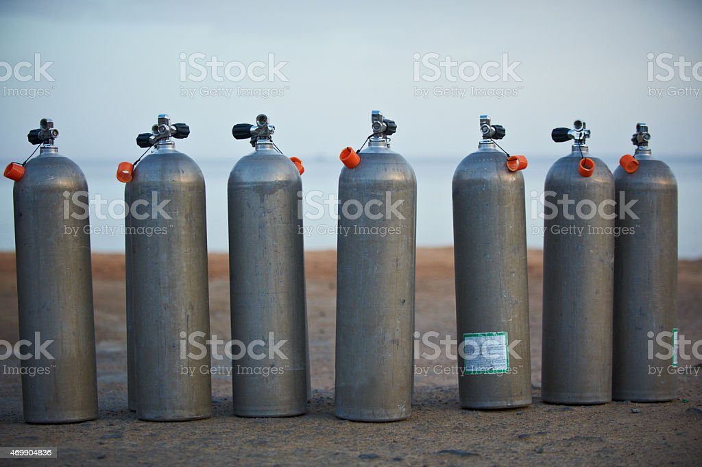 diving tanks stock photo