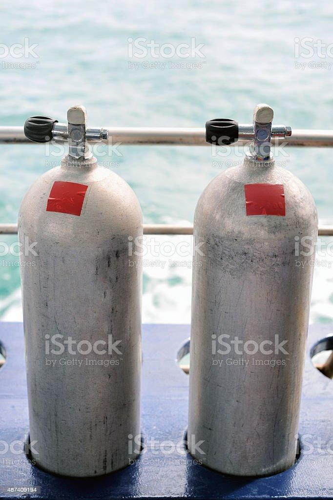 Diving tanks stock photo