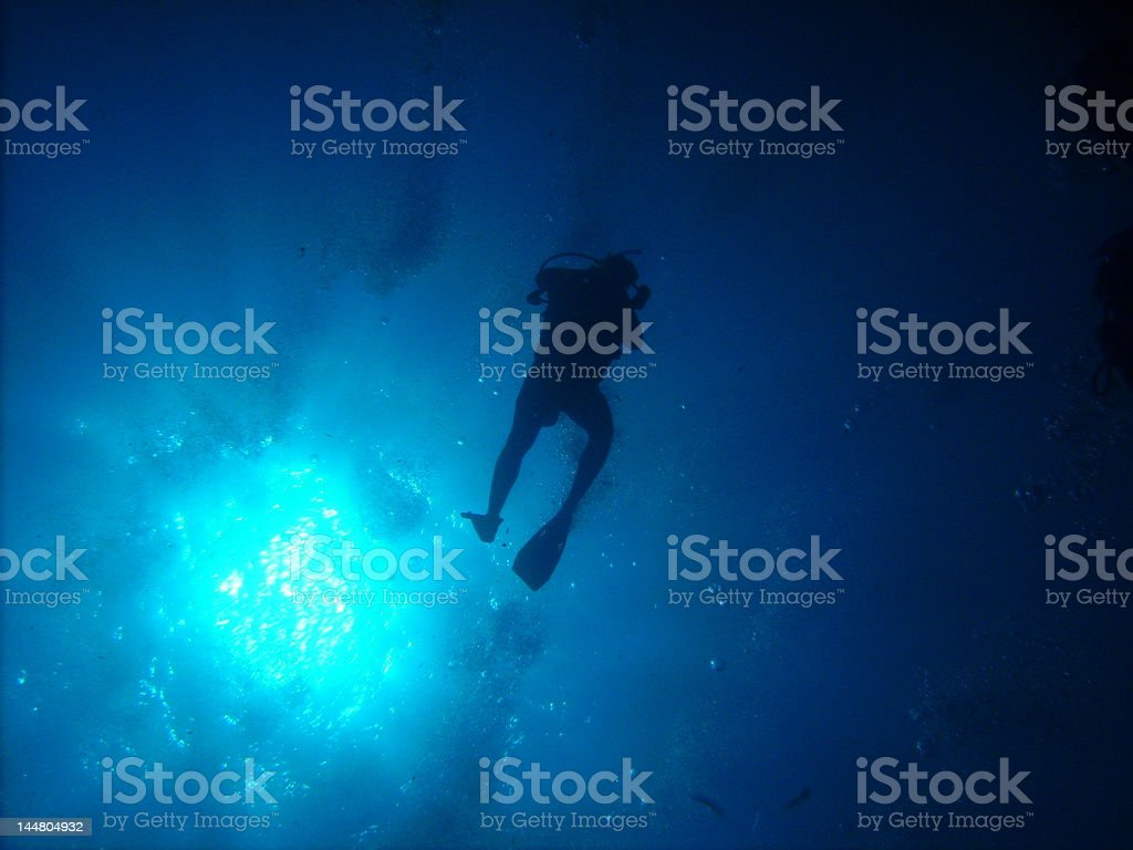 Diving the Blue Hole stock photo