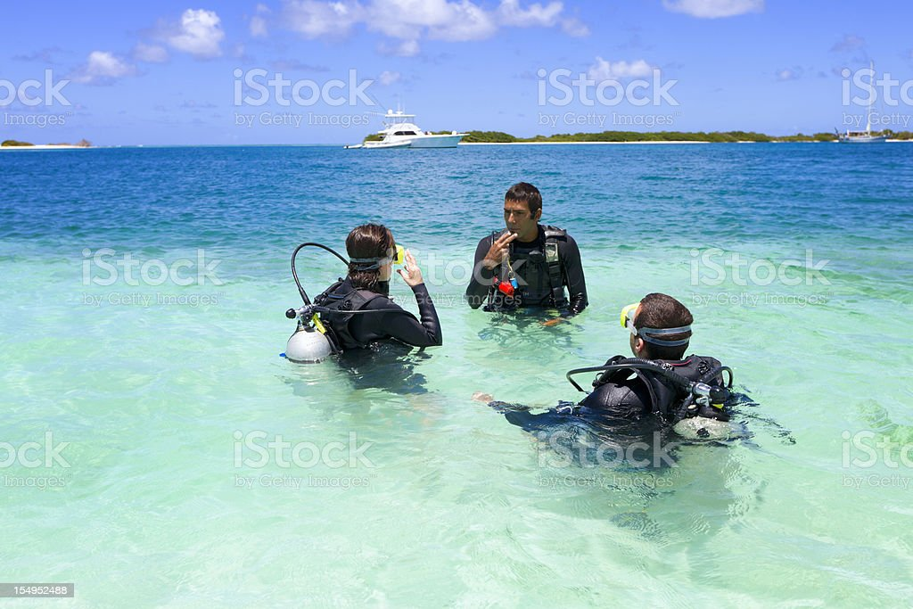 Diving training in a tropical turquoise island stock photo