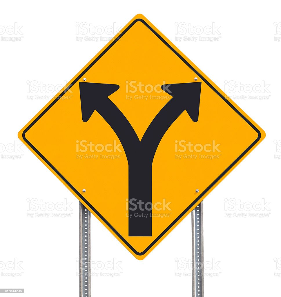 Division or Choice Ahead Traffic Sign Post Isolated on White royalty-free stock photo