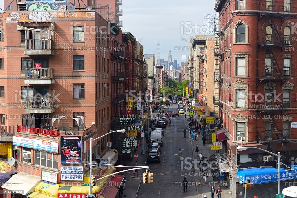Division Street in Chinatown as seen from the Manhattan Bridge stock photo
