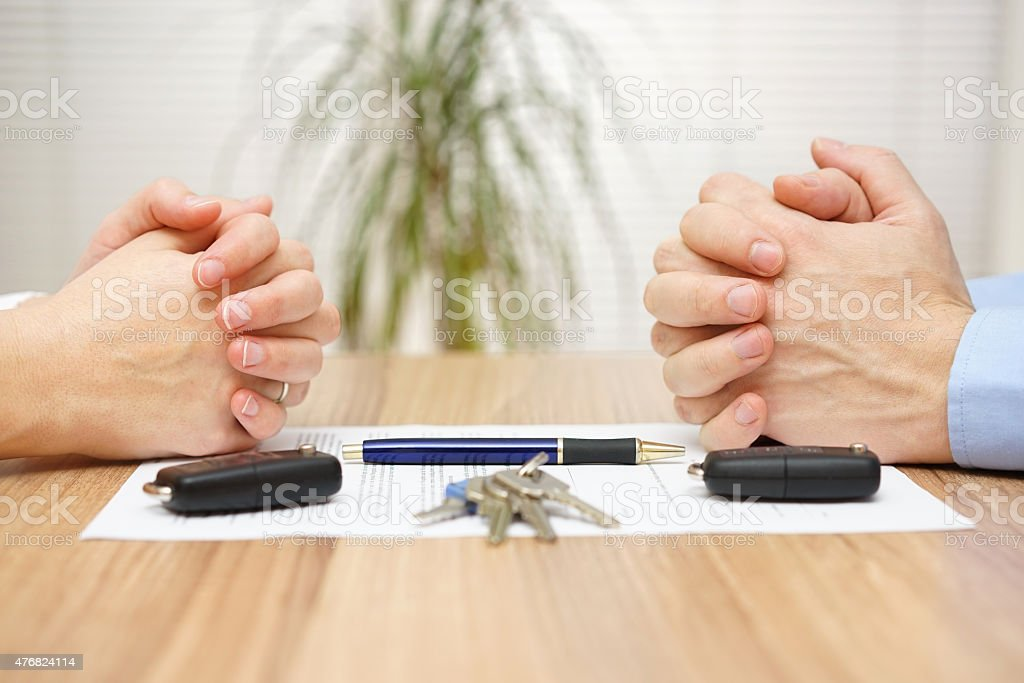 Divorce agreement. Wife and husband can not make settlement stock photo