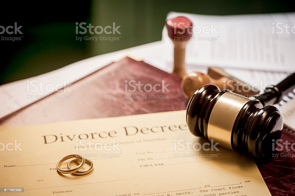 Divorce decree and wooden gavel stock photo
