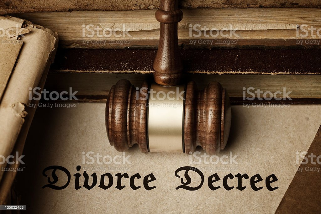 Divorce Decree document stock photo