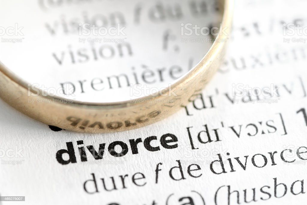Divorce definition with ring stock photo