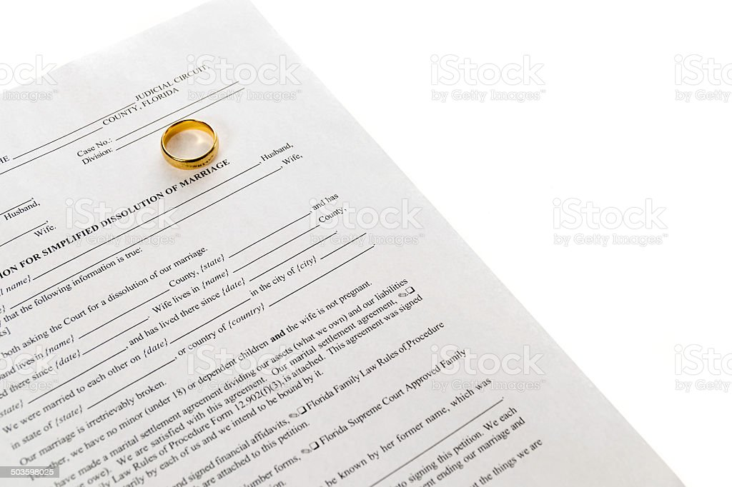 Divorce Form With Single Wedding Ring stock photo