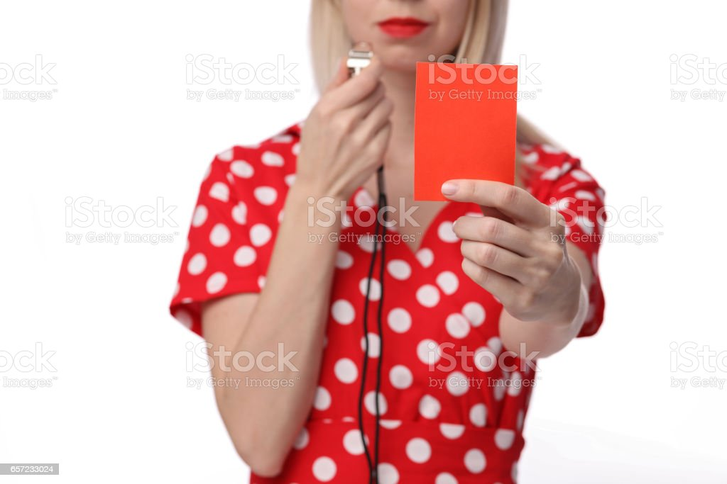 Divorce, Misunderstanding, Relationship problems. Woman showing red card to her husband. stock photo