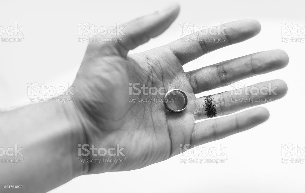 Divorce pain finger burn stock photo